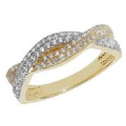 9ct gold Cubic zirconia double row woven ring 2.2g